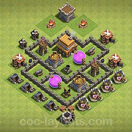 TH4 Trophy Base Plan with Link, Copy Town Hall 4 Base Design 2020, #112