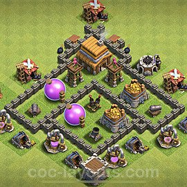 Full Upgrade TH4 Base Plan with Link, Copy Town Hall 4 Max Levels Design 2020, #113