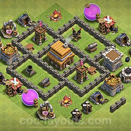 TH4 Anti 3 Stars Base Plan with Link, Copy Town Hall 4 Base Design 2021, #115