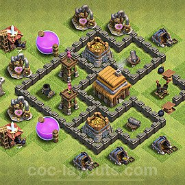 TH4 Anti 2 Stars Base Plan with Link, Copy Town Hall 4 Base Design 2021, #116