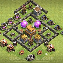 Anti Everything TH4 Base Plan with Link, Copy Town Hall 4 Design 2021, #118