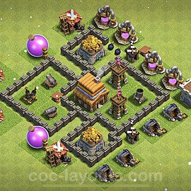 Full Upgrade TH4 Base Plan with Link, Copy Town Hall 4 Max Levels Design 2021, #119