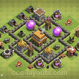 Full Upgrade TH4 Base Plan with Link, Copy Town Hall 4 Max Levels Design 2021, #122