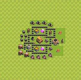 Base plan Town Hall level 4 for trophies (defence) (variant 13)
