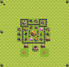 Base plan Town Hall level 4 for trophies (defence) (variant 14)