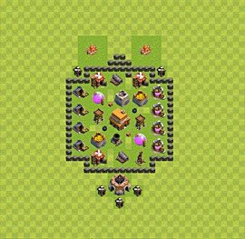 Base plan Town Hall level 4 for trophies (defence) (variant 17)