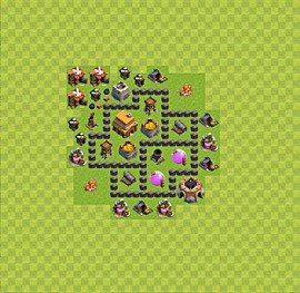 Base plan Town Hall level 4 for trophies (defence) (variant 19)