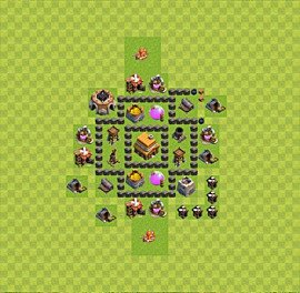 Base plan Town Hall level 4 for trophies (defence) (variant 20)