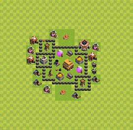 Base plan Town Hall level 4 for trophies (defence) (variant 21)