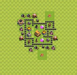 Base plan Town Hall level 4 for trophies (defence) (variant 25)