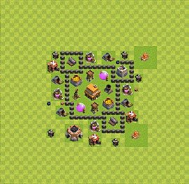 Base plan Town Hall level 4 for trophies (defence) (variant 27)