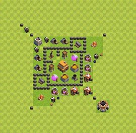 Base plan Town Hall level 4 for trophies (defence) (variant 28)