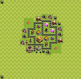 Base plan Town Hall level 4 for trophies (defence) (variant 29)