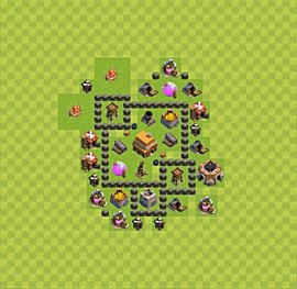 Base plan Town Hall level 4 for trophies (defence) (variant 3)