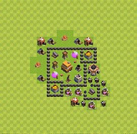 Base plan Town Hall level 4 for trophies (defence) (variant 32)