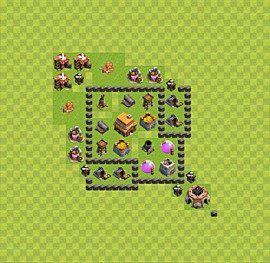 Base plan Town Hall level 4 for trophies (defence) (variant 33)