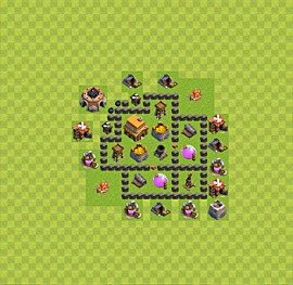 Base plan Town Hall level 4 for trophies (defence) (variant 34)