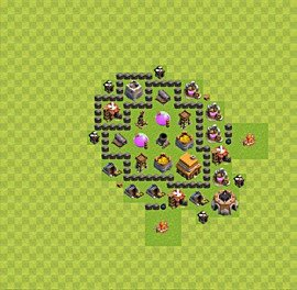Base plan Town Hall level 4 for trophies (defence) (variant 35)