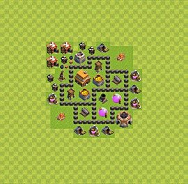 Base plan Town Hall level 4 for trophies (defence) (variant 36)