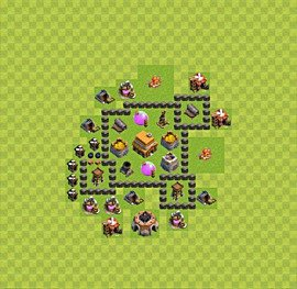 Base plan Town Hall level 4 for trophies (defence) (variant 39)