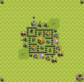 Base plan Town Hall level 4 for trophies (defence) (variant 4)