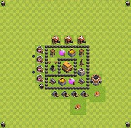 Base plan Town Hall level 4 for trophies (defence) (variant 40)