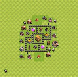 Base plan Town Hall level 4 for trophies (defence) (variant 42)