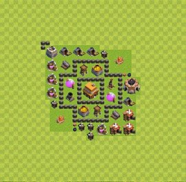 Base plan Town Hall level 4 for trophies (defence) (variant 43)