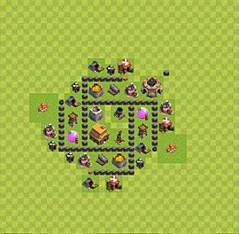 Base plan Town Hall level 4 for trophies (defence) (variant 44)