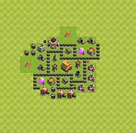 Base plan Town Hall level 4 for trophies (defence) (variant 45)