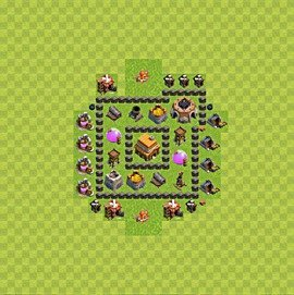 Base plan Town Hall level 4 for trophies (defence) (variant 47)