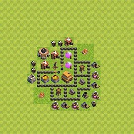 Base plan Town Hall level 4 for trophies (defence) (variant 48)