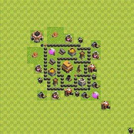 Base plan Town Hall level 4 for trophies (defence) (variant 49)