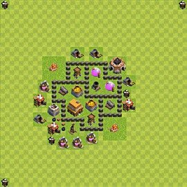 Base plan Town Hall level 4 for trophies (defence) (variant 51)