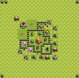 Base plan Town Hall level 4 for trophies (defence) (variant 6)