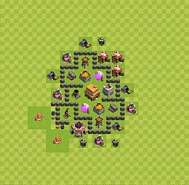 Base plan Town Hall level 4 for trophies (defence) (variant 7)