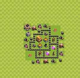 Base plan Town Hall level 4 for trophies (defence) (variant 9)
