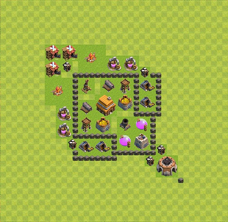 Base plan (layout) for trophies collecting TH  4 (Town Hall level 4, TH 4), variant 1