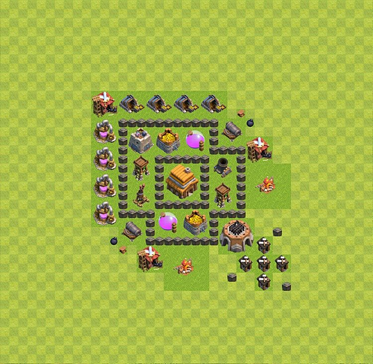 TH4 Trophy Base Plan, Town Hall 4 Base Design, #11