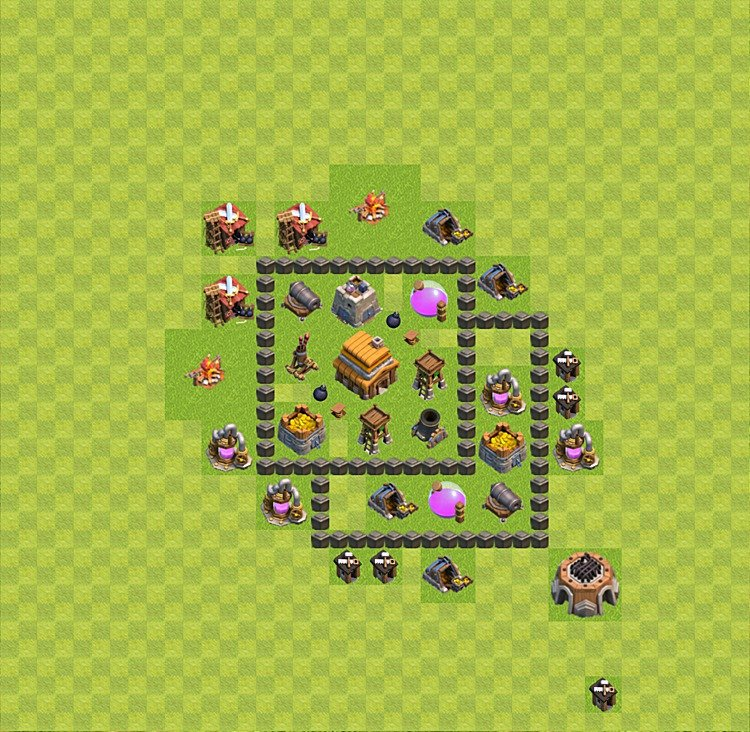 Base plan (layout) for trophies collecting TH  4 (Town Hall level 4, TH 4), variant 12