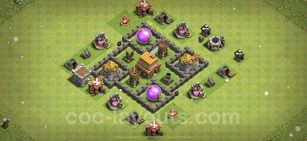 Anti Everything TH4 Base Plan with Link, Copy Town Hall 4 Design 2021, #120