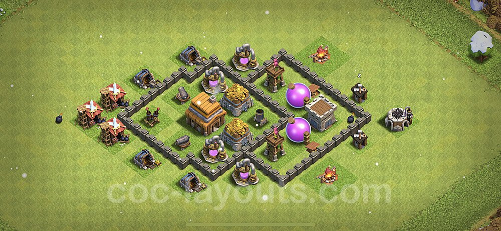 TH4 Anti 3 Stars Base Plan with Link, Copy Town Hall 4 Base Design 2021, #121