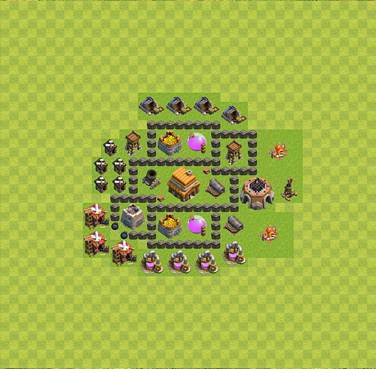 Base plan (layout) for trophies collecting TH  4 (Town Hall level 4, TH 4), variant 13