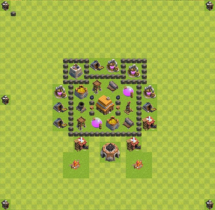 Base plan (layout) for trophies collecting TH  4 (Town Hall level 4, TH 4), variant 14