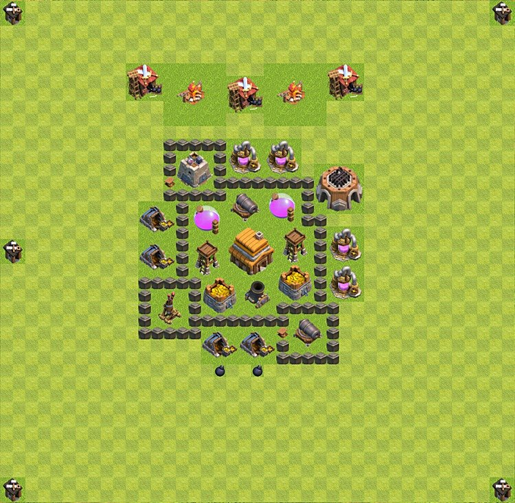Base plan (layout) for trophies collecting TH  4 (Town Hall level 4, TH 4), variant 15