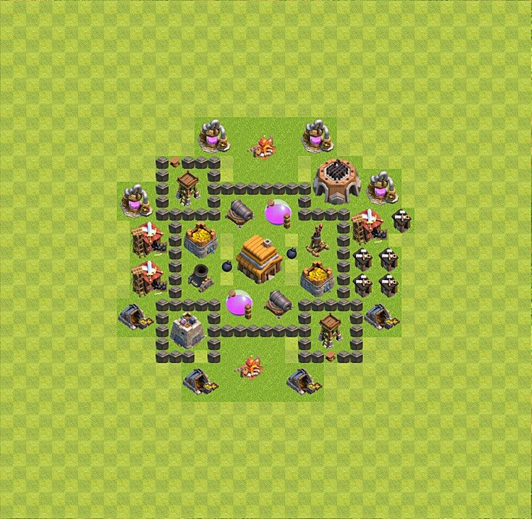Base plan (layout) for trophies collecting TH  4 (Town Hall level 4, TH 4), variant 16