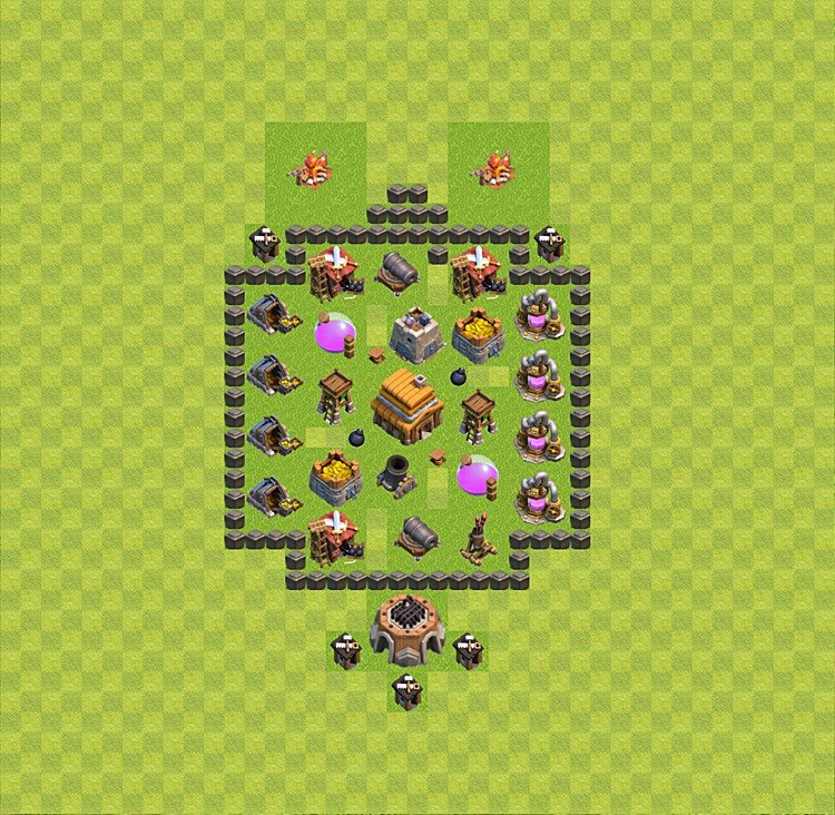 Base plan (layout) for trophies collecting TH  4 (Town Hall level 4, TH 4), variant 17