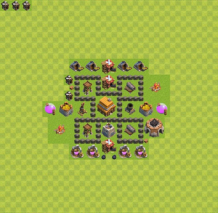 Base plan (layout) for trophies collecting TH  4 (Town Hall level 4, TH 4), variant 18