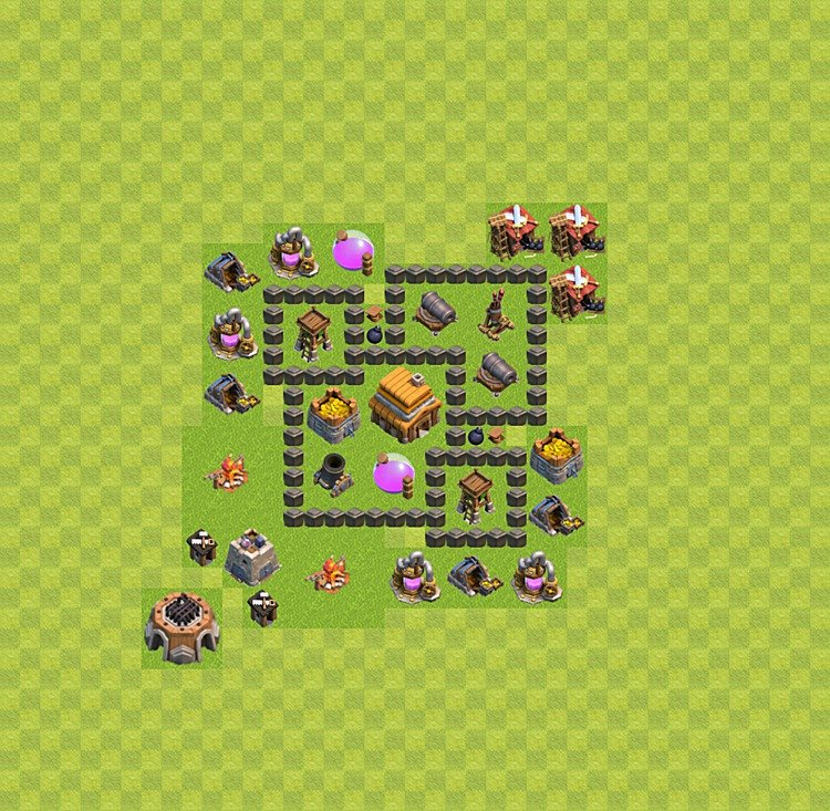 Base plan (layout) for trophies collecting TH  4 (Town Hall level 4, TH 4), variant 2