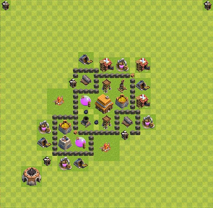 Base plan (layout) for trophies collecting TH  4 (Town Hall level 4, TH 4), variant 22